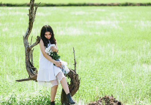 Girl, Flowers, Woman, Portrait, Female, Spring, Nature