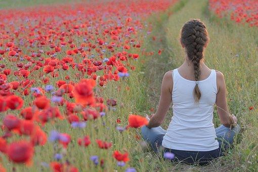 Poppies, Yoga, Field, Woman, The Path, Girl, Nice