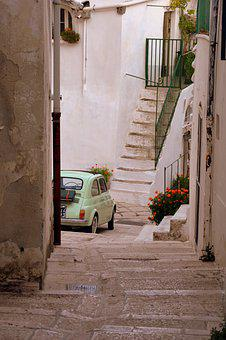 Alley, Vintage Car, Staircase, Descent, Flowers
