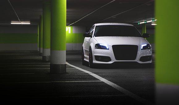 Parking Lot, Audi, Car, Vehicle, Automotive, Driving