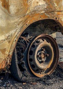 Auto, Burned, Charred, Metal, Rusty, Scrap, Wreck