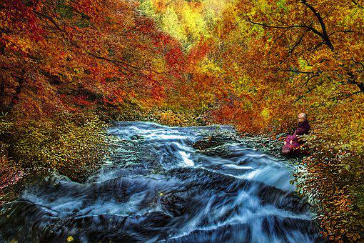 Autumn, Colorful, Scenery, Landscape, Waterfall, Monk