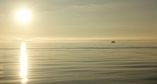 Sunrise, Dawn, Fishing, Sea, Boat, Sun, Light, Ripple