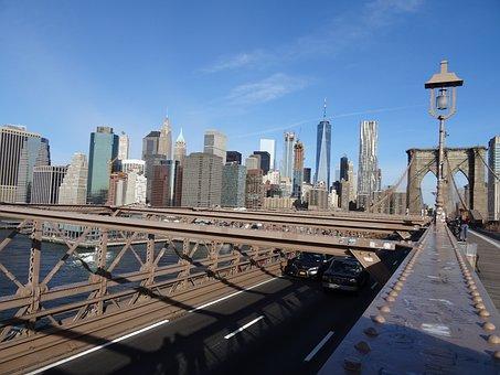 Brooklyn Bridge, New York City, Usa, Bridge, Urban