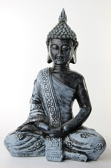 Buddha, Sitting, Background, White, Buddhism, Religion