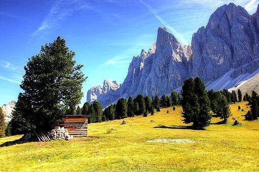 Dolomites, Geisler, Odle, Mountain, Nature, Clouds, Sky