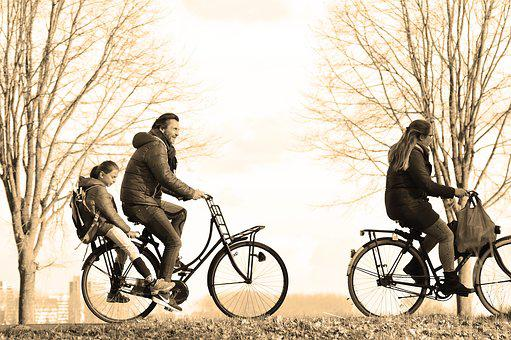 Person, Man, Woman, Couple, Family, Child, Bicycle