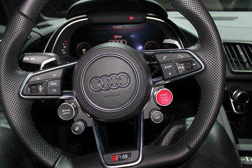 Audi, R8, Steering Wheel, Sports Car, Auto, Design