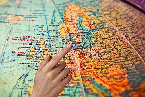 Map, Globe, World, Earth, Plan, Show, Finger, Hand