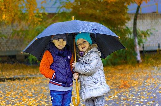 Kids, Rain, Umbrella, Friendship, Care, Autumn