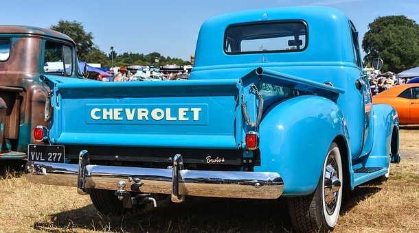Chevrolet, Truck, Blue, Hot Rod, Vehicle, Old, Retro