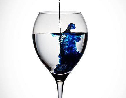 Glass, Ink, Blue, Drip, Inkwell, Water, Color