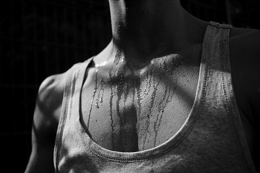 Black White, Human, Breast, Man, Water, Sweat, Drip
