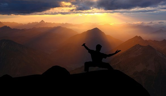 Action, Kung Fu, Sundown, Silhouette, Mountain, Karate