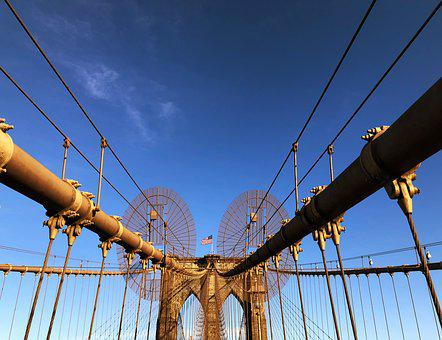 Brooklyn Bridge, Manhattan, New York, Sky, Nature