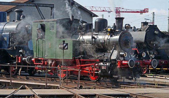 Steam Locomotive, Museum, Nördlingen, Bavaria, Event
