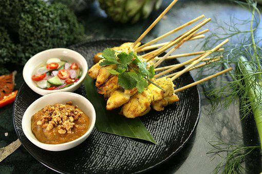 Satay Chicken, Peanut Sauce, Thai Food, Thai Snack