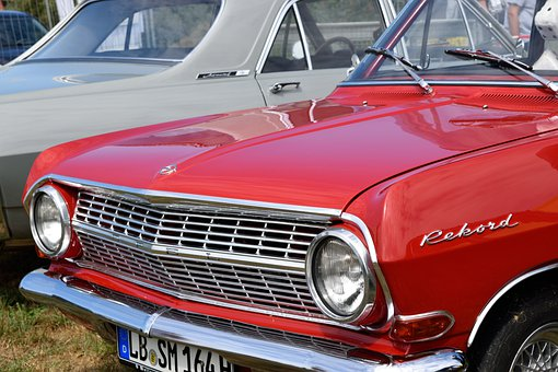 Auto, Red, Chrome, Old