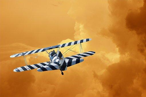 Warbirds, Biplane, Clouds, Orange, Red, Flight, Classic