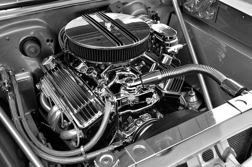 Car Engine, Customized, Retro, Chrome, Shiny