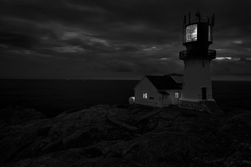 Lighthouse, Sea, Ocean, Water, Coast, Sky, Dusk, Rock