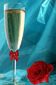 Champagne, Champagne Glass, Rose, Red, Loop, Drink