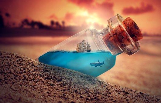 Sunset, Sand, Beach, Bottle, Water, Sea, Shark, Ship