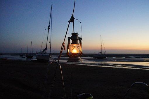 Evening, North Sea, Kerosene Lamp, Sunset, Sky