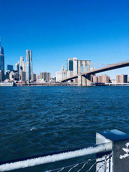 Brooklyn, Bridge, New York, Manhattan, Skyscraper
