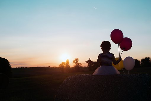 Child, Sunset, Balloons, Straw