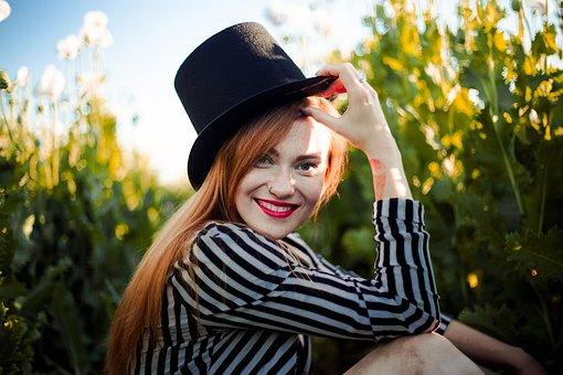 Girl, Redhead, Hat, Stripes, Smile
