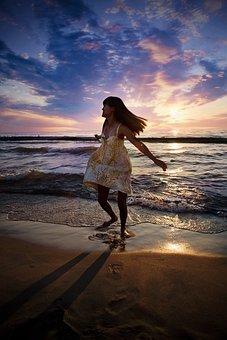 Beach, Stroll, Girl, Sunset, Summer, Vacation, Sand