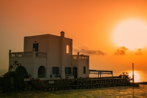 Sunset, Architecture, Building, Greece