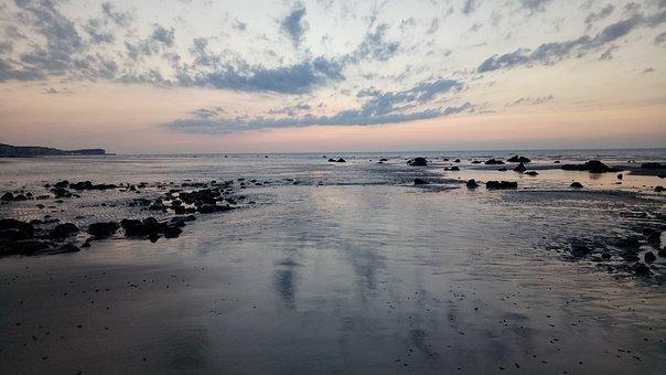 Coast, Sea, Rocks, Sunset, Normandie, Mirror, Nature