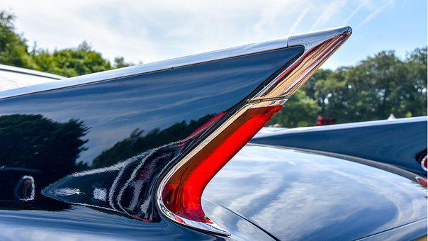 Tail Fin, Cadillac, Car, Classic, Chrome, Auto, Gloss