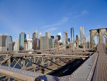 Brooklyn Bridge, New York City, Usa, Bridge, Urban