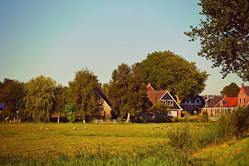Village, Houses, Meadow, Trees, Landscape, Rural
