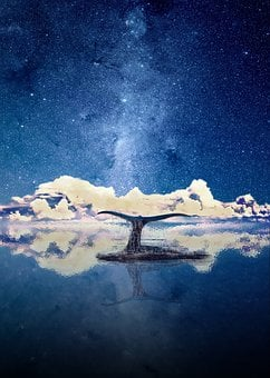 Fantasy, Water, Heaven, Star, Blue, Evening Sky