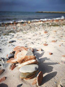 Helgoland, Stones, Sand, Landscape, Water, Nature
