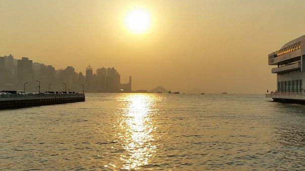 Water, Hongkong, Sea, Travel, Sunset, Harbor