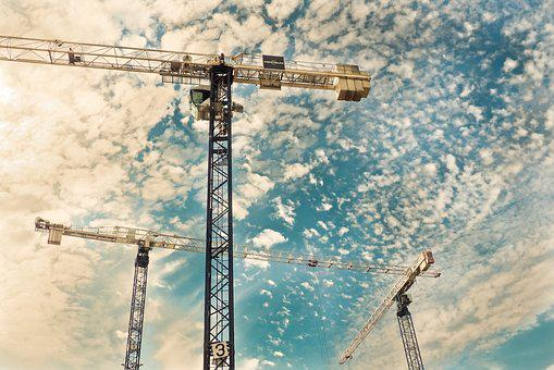 Baukran, Crane, Build, Site, Sky, Crane Arm