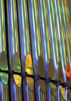 Sagrada Familia, Church, Pipes, Reflections, Metal