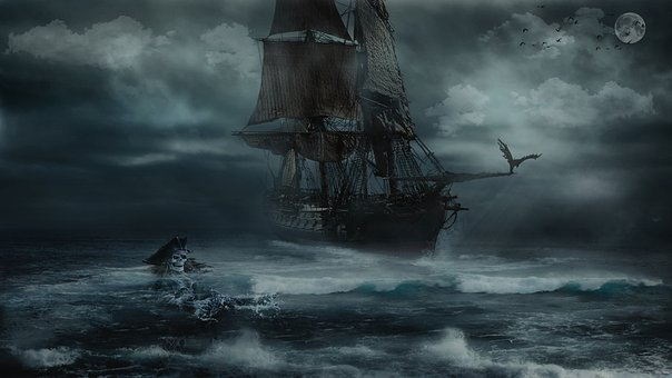 Storm, Pirate, Sea, Marine, Boat, Sky, Dark, Sailboat