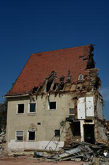House, Demolition, Building, Ruin, Debris, Crash