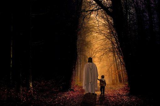 Jesus, Christ, Journey, Forest, Child, Lead, Path, Road