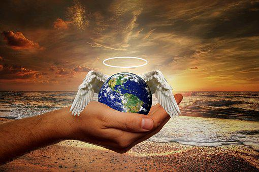 Hand, Human, World, Globe, Planet, Angel, Wing, Halo