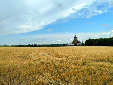 Field, Church, Monastery, Building, Grass, Meadow