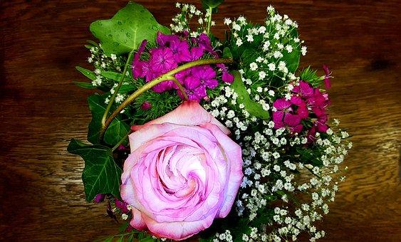 Rose, Bouquet, Greeting, Birthday, Joy, Postcard, Ivy