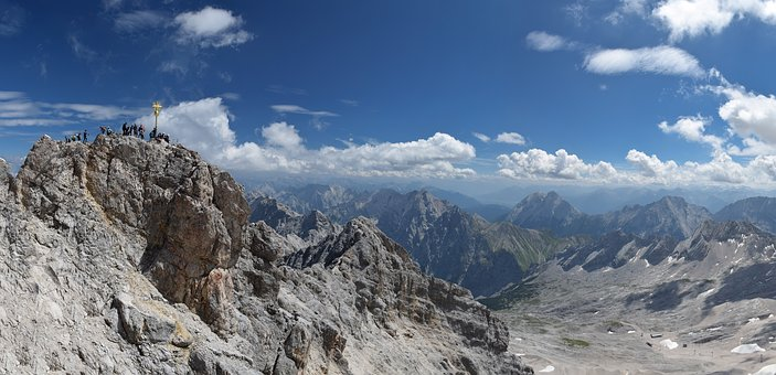 Zugspitze, Panorama, Alpine, Mountains, Germany, Summit