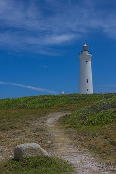 Lighthouse, Clouds, Trail, Sky, Nature, Tourism, Rock